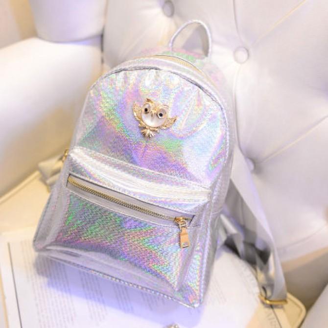 Silver Hologram Owl Backpack