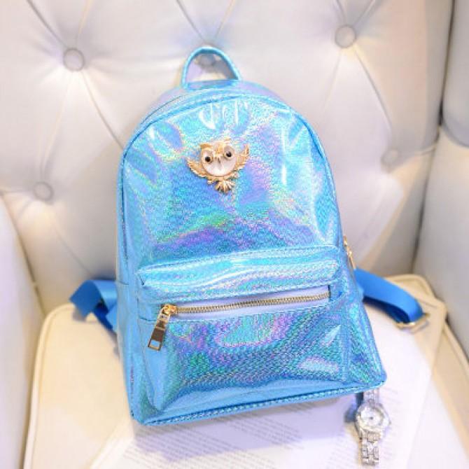Blue Hologram Owl Backpack