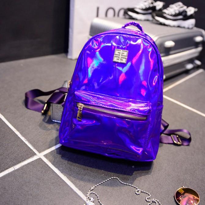 Purple Laser Hologram Backpack