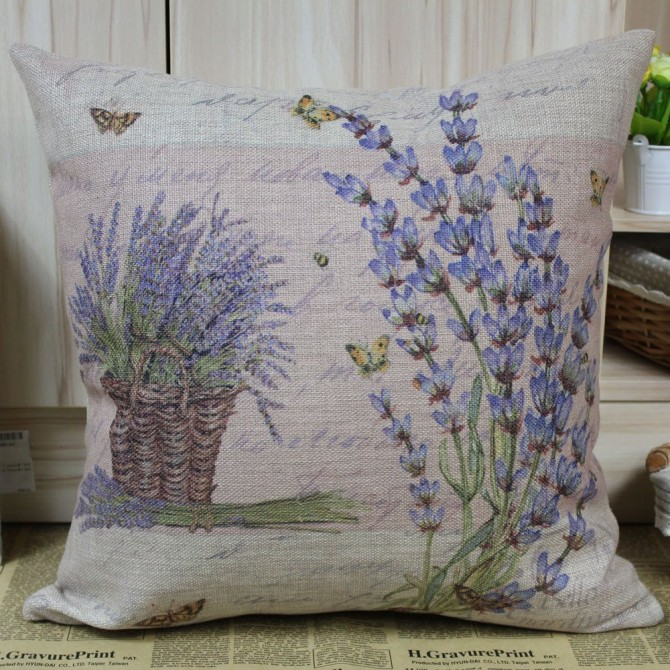 Purple Lavender Cushion Cover