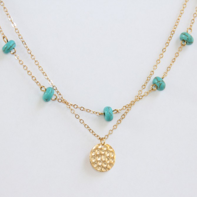 Layered Turquoise Geometry Coin Lariat Necklace