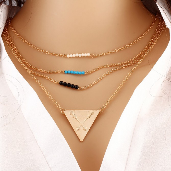Lariat Layer Beads Triangle Necklace