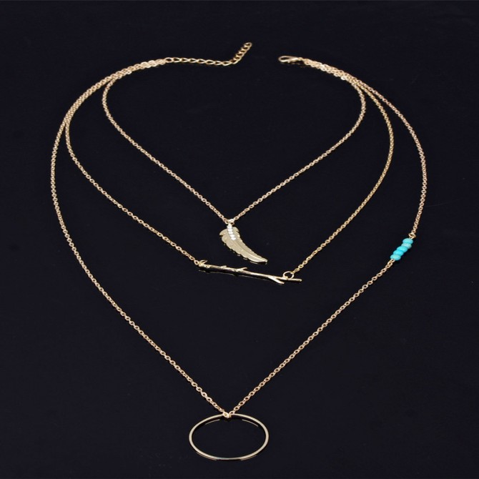 Lariat Layer Feather Branches Turquoise Necklace
