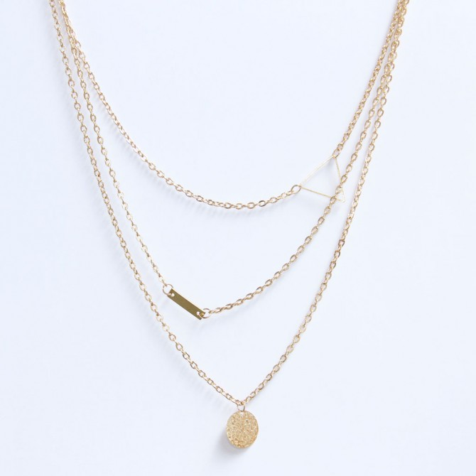 Layered Geometry Lariat Necklace