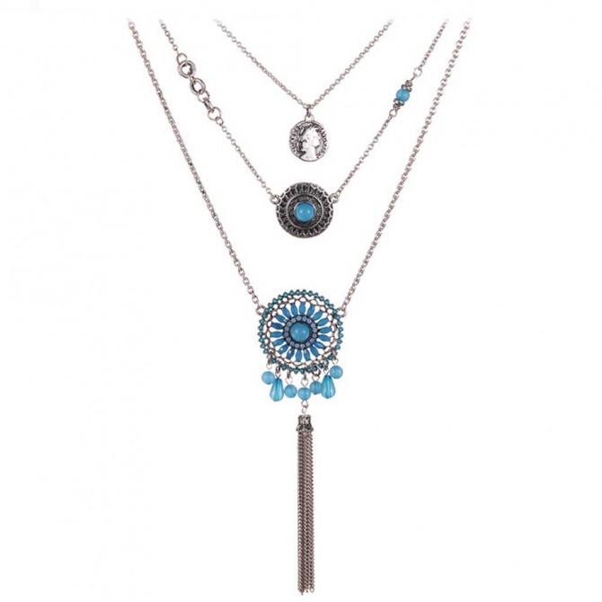 Fashion Boho Blue Layering Necklace