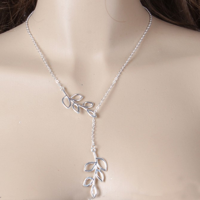 Lariat Hanging Tree Leaves Necklace