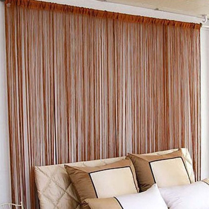 Brown String Curtain Panel