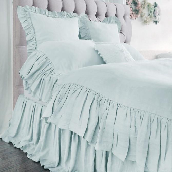 Mermaid Long Ruffle Duvet Cover Set- Blue