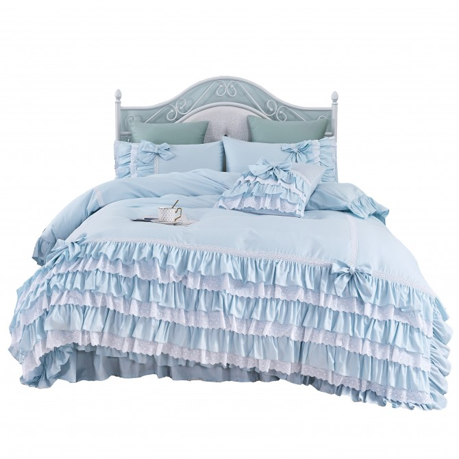 Light Blue Ruffle Lace Duvet Cover Set