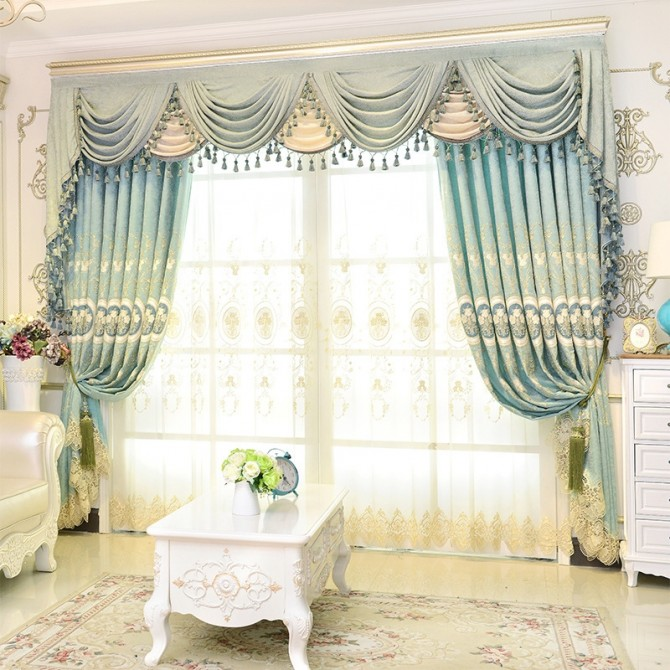 Light Blue Swag Tails Valance Curtain Set
