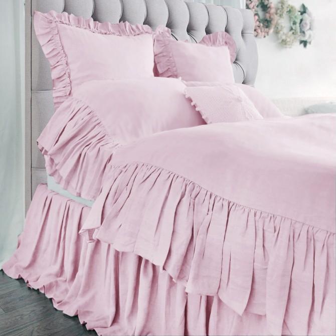 Mermaid Long Ruffle Duvet Cover Set- Pink