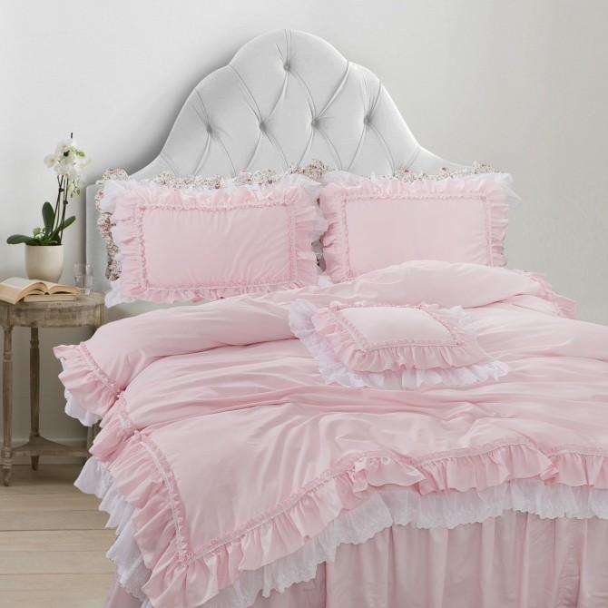 Double Ruffle Lace Duvet Cover Set- Light Pink