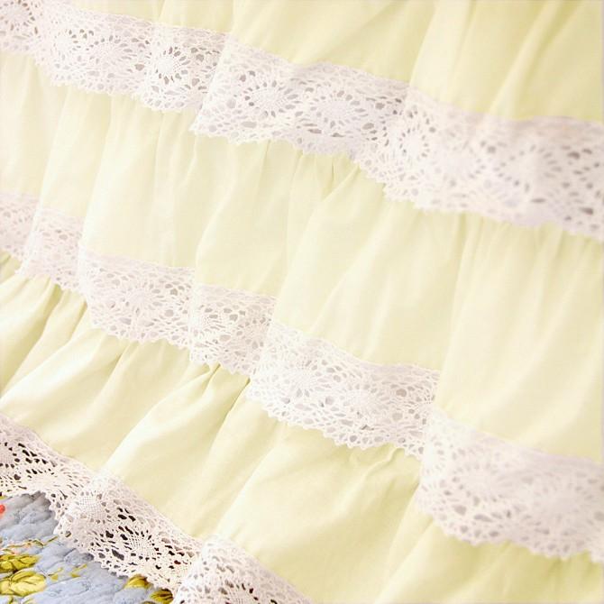 Light Yellow Crochet Cotton Lace Ruffle Bed Skirt