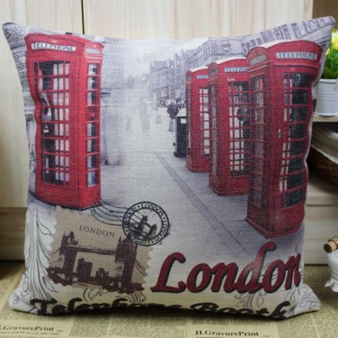 London Telephone Booth Cushion Cover