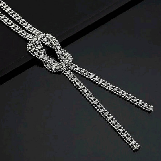Lovers Knot Crystal Necklace