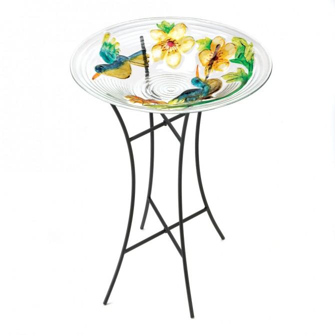 Lush Garden Glass Bird Bath