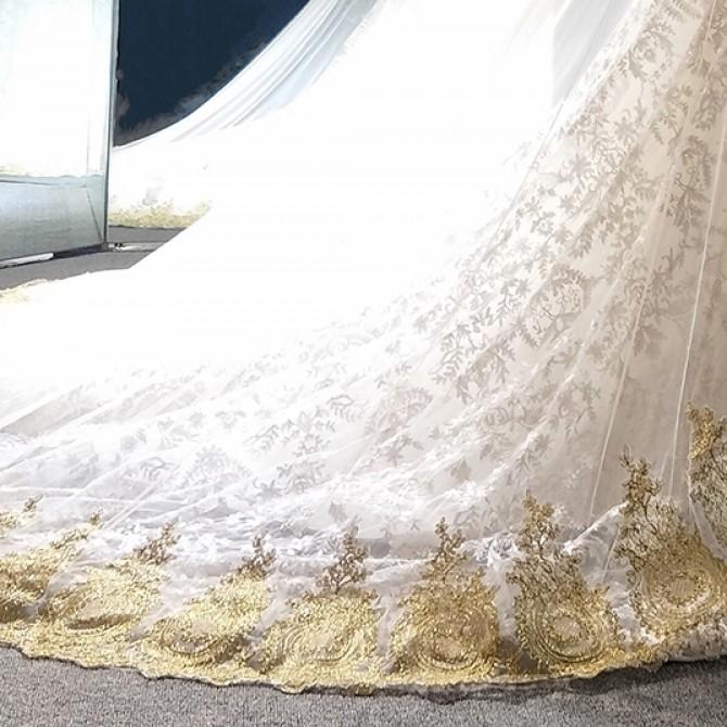 Luxury Gold Wedding Lace Veil