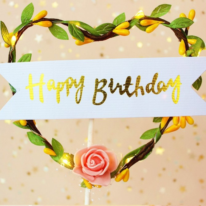 Rose Vine Fairy Light Birthday Cake Topper
