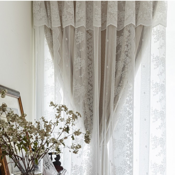 Embroidery Floral Lace Curtain Set with Valance(1 pair)