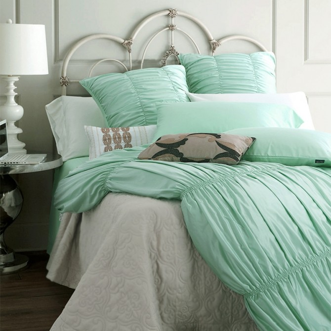 Luxury Mint Ruched Duvet Cover Set
