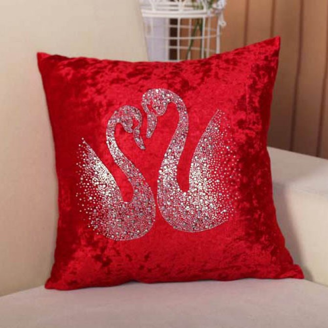 Red Velvet Swan Cushion Cover