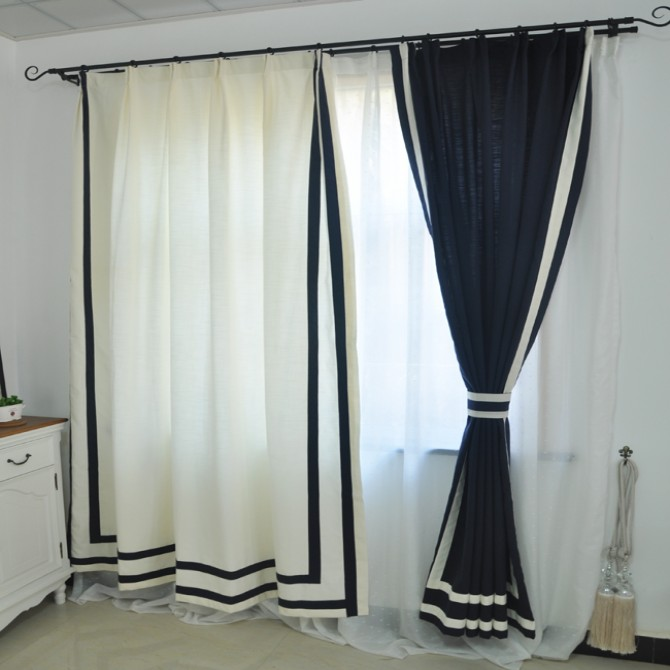 Blue White Elegant Curtain Panel Set