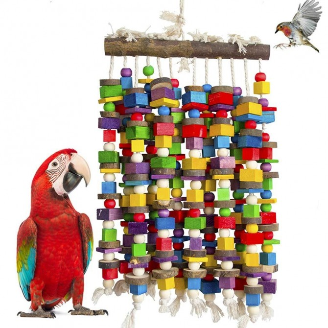 Macaws Cockatoos Amazon African Parrot Bird Chewing Bite Toy Stand