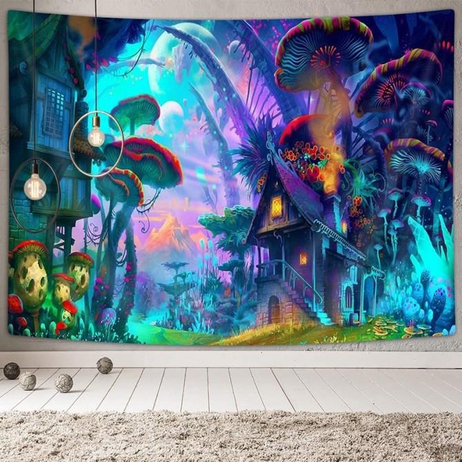 Magic Forest Mushroom Mystery Tree Blue Night Fashion Bohemian Wall Art Tapestry
