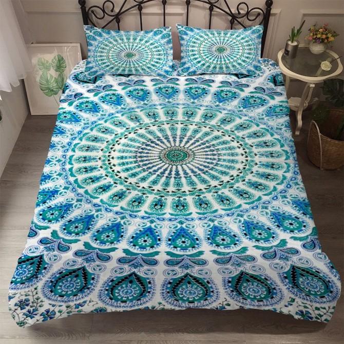Peacock Mandala Flower Duvet Cover Set