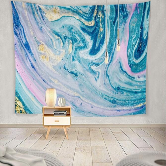Aqua Marble Pattern Fashion Bohemian Wall Art Tapestry