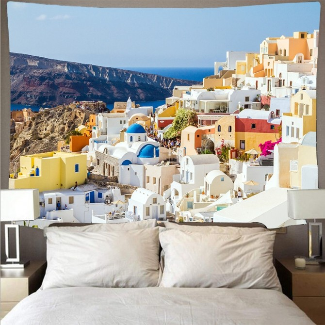 Mediterranean Sea Crete Greece Fashion Bohemian Wall Art Tapestry C