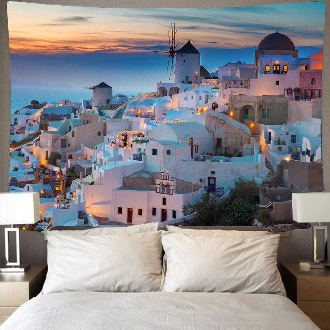 Mediterranean Sea Crete Greece Fashion Bohemian Wall Art Tapestry D