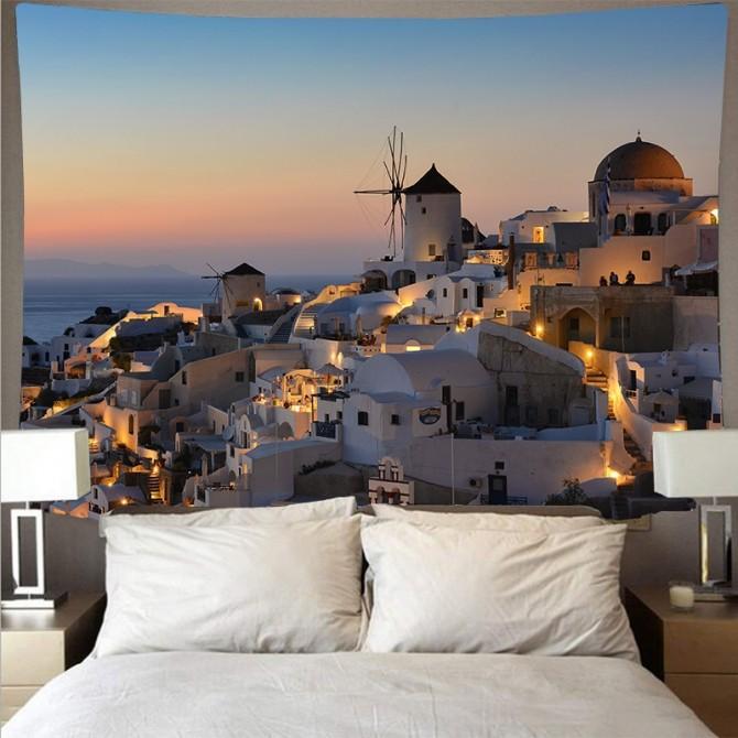Mediterranean Sea Crete Greece Fashion Bohemian Wall Art Tapestry e