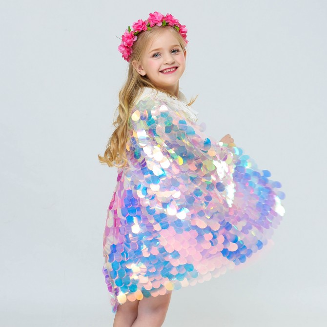 Mermaid Sequin Iridescent Cloak