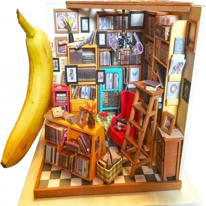 Miniature Bookstore Library DIY Dollhouse Kit