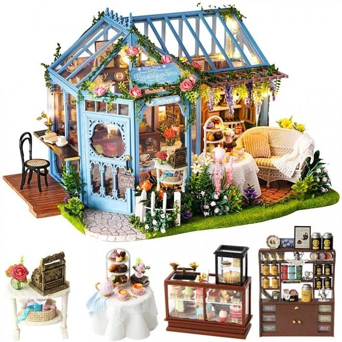 Miniature Cottage Rose English Tea Shop DIY Dollhouse Kit