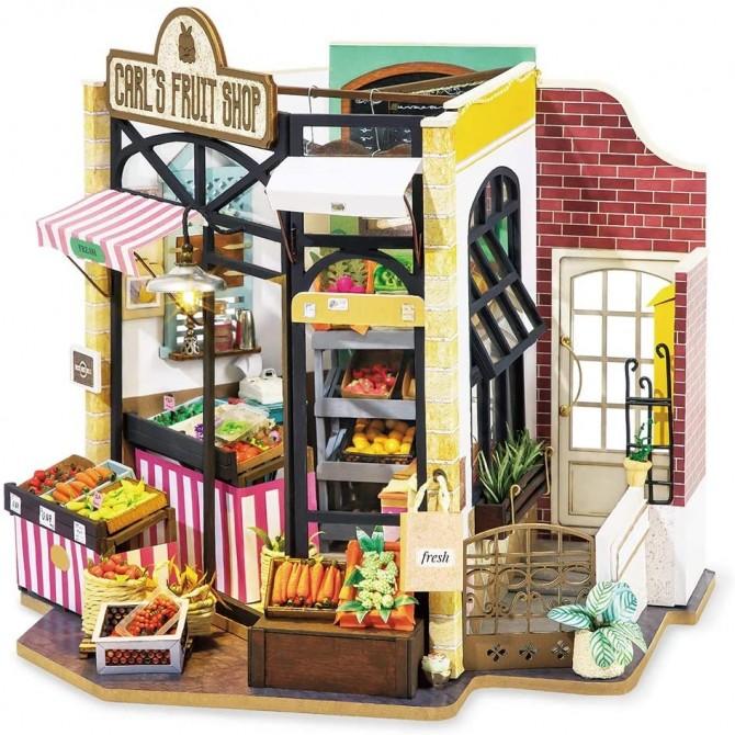 Miniature Carl's Fruit Vegetable Shop Fresh Farmers Market DIY Craft Dollhouse Kit