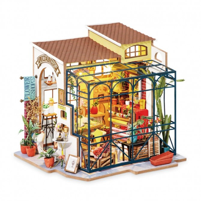 Miniature Greenhouse Flower Shop DIY Craft Dollhouse Kit