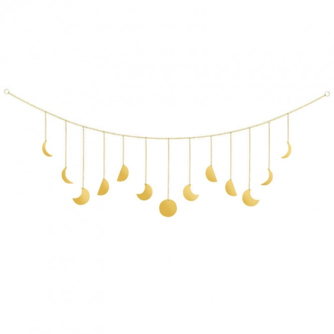 Moon Phase Golden Dainty Wall Hanging Garland Metal Curtain