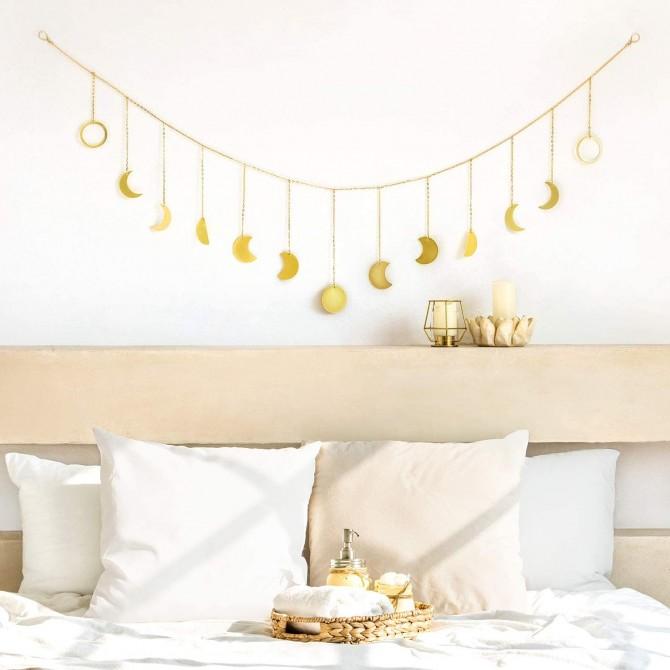 Gold Moon Phase Wall Hanging Garland Metal Curtain