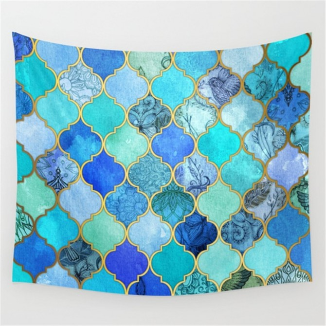 Blue Moroccan Gradient Tapestry