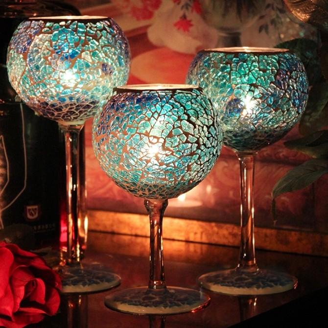 Glass Blue Mediterranean Candleholder Trio