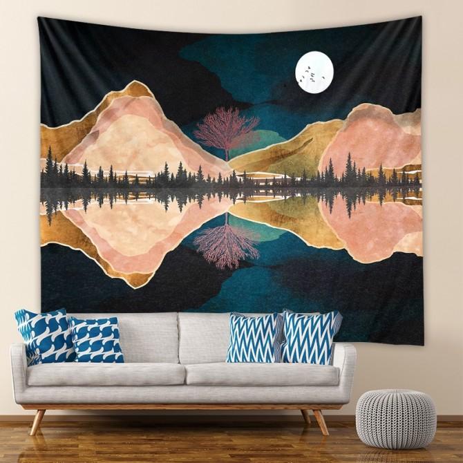 Mountain Night Moon Fashion Bohemian Wall Art Tapestry