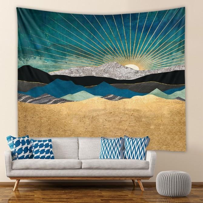 Landscape Mountain Sun Fashion Bohemian Wall Art Tapestry