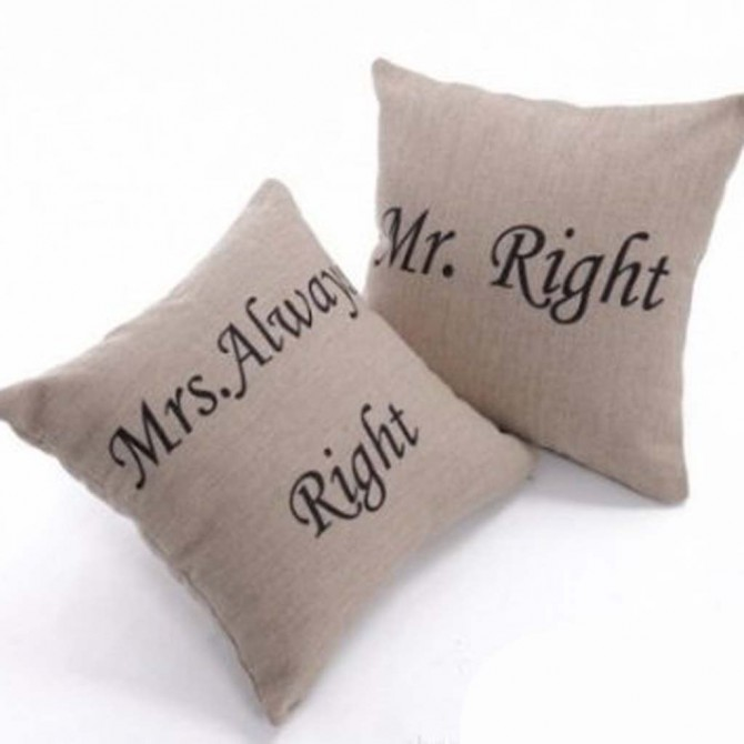 Mr. Right and Mrs. Always Right Cushion Covers