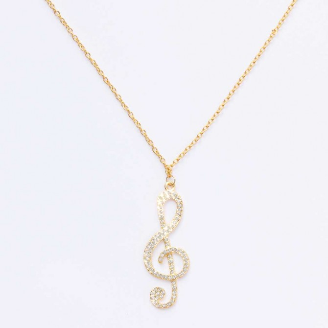 Crystal Treble Clef Gold Tone Music Necklace