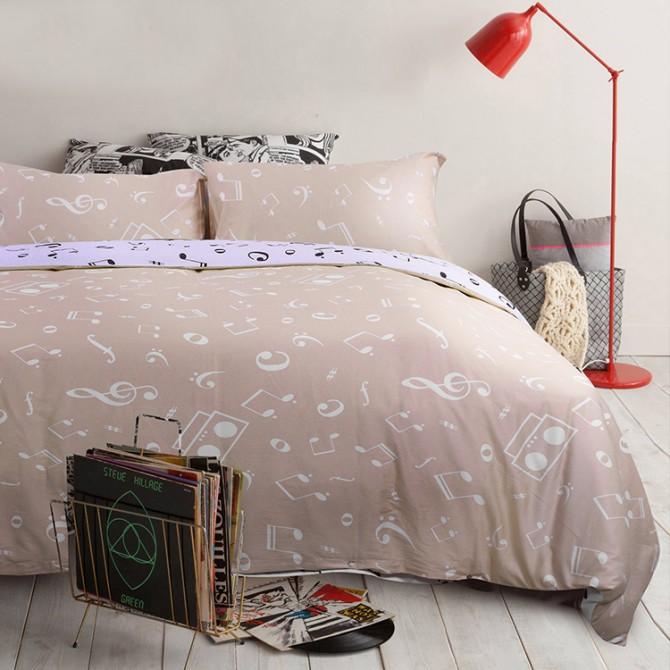 Music Note Queen Bedding Set- Beige