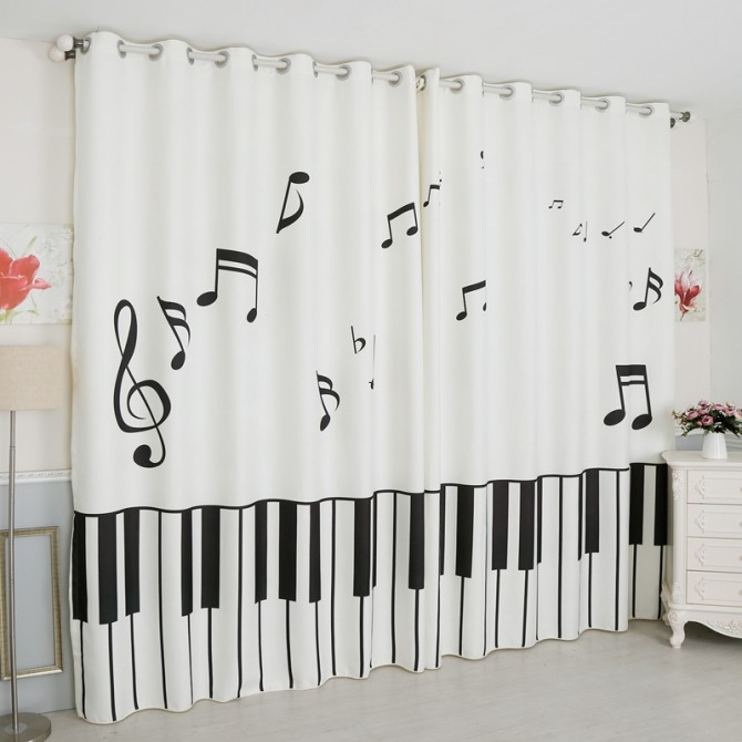 Music Note Curtain Panel Set
