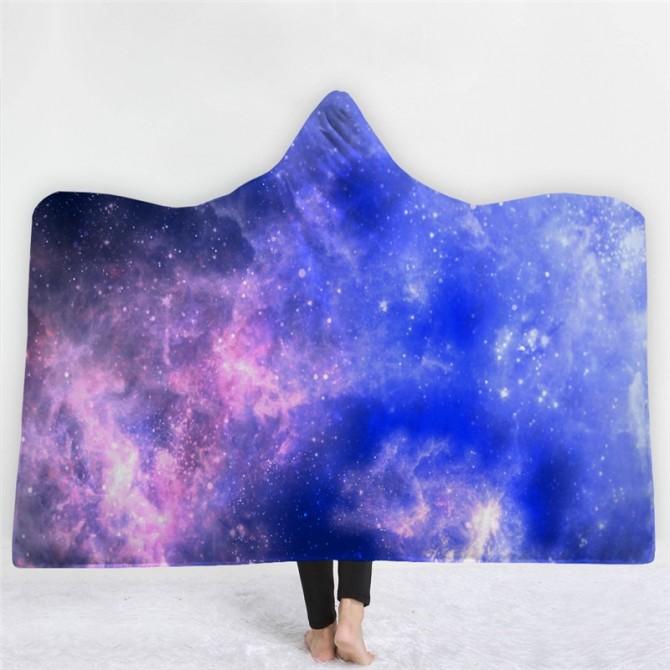 Space Nebula Throw Blanket with Hood