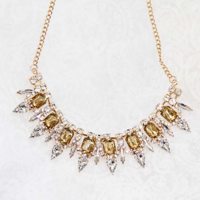 Crystal Faced Gem Necklace